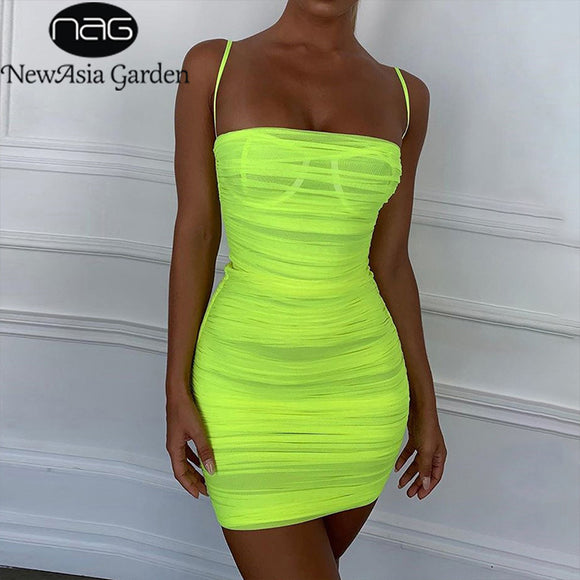 Double Layers Mesh Summer Dress Women Spaghetti Straps Bodycon Ruched Dress Woman Party Night Club Dress Sexy Robe - 88digital