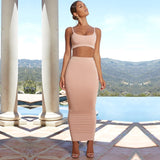 2 Layers Maxi Dress Long Pink Bodycon Dress Women Elegant Autumn Sexy Dress Winter Party Dresses Ladies Club Wear - 88digital