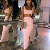 NewAsia Garden Ribbed Winter Dress White Women Bodycon Dress Two Piece Pink Autumn Dress Long Midi Sexy Dresses Club Wear Black - 88digital