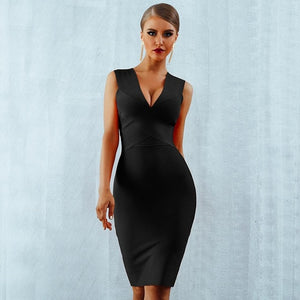 Newest Summer Celebrity Party Bandage Dress Women Sleeveless V-Neck Sexy Night Out Club Dress Women Bodycon Vestidos Wholesale - 88digital