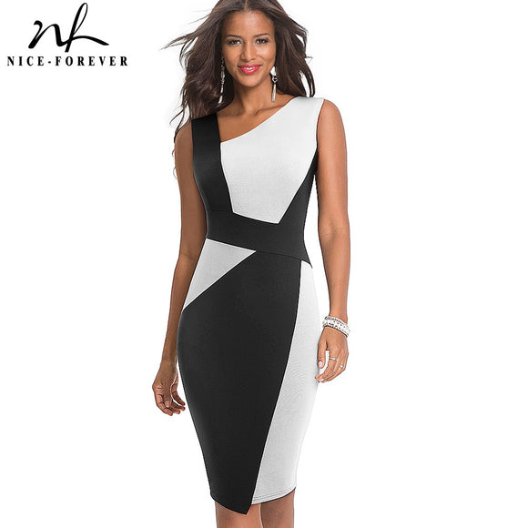 Nice-Forever Vintage Contrast Color Patchwork Wear to Work vestidos Business Party Bodycon Office Elegant Women Dress B517 - 88digital