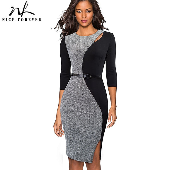Nice-forever Vintage Contrast Color Patchwork Wear to Work vestidos O Neck Party Bodycon Office Business Women Dress B478 - 88digital