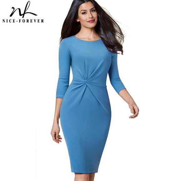 Nice-forever Vintage Pure Color Wear to Work Knot vestidos Business Party Women Elegant Office Female Bodycon Dress B476 - 88digital