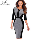 Nice-forever Women Retro Contrast Patchwork Wear to Work Business vestidos Office Bodycon Zipper Sheath Female Dress B409 - 88digital