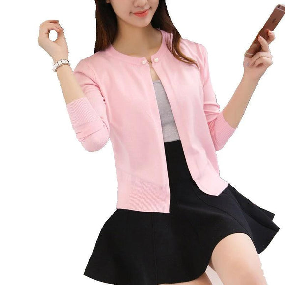 Knitted Cardigan Women Spring Autumn Long Sleeve Women Sweater Cardigan Female Single Button Pull Femme - 88digital