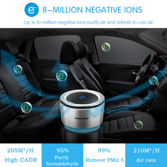 Onever Car Air Purifier 12V Negative Ions Air Cleaner Ionizer Air Freshener Auto Mist Maker Pm2.5 Eliminator Cup Car Charger - 88digital