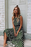 Oufisun Summer Sleeveless Polka Dot Print Women Midi Dress Casual Fashion Dresses A-Line Boho Elegant Beach Long Dress Vestidos - 88digital