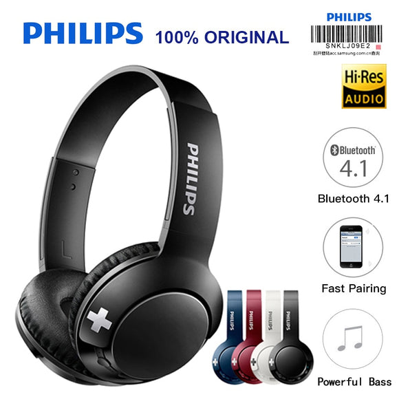 Original Philips Bluetooth Headset Earphone Wireless Headphones SHB3075 Volume with Microphone Control for  Galaxy Note 8 XiaoMI Hua Wei - 88digital