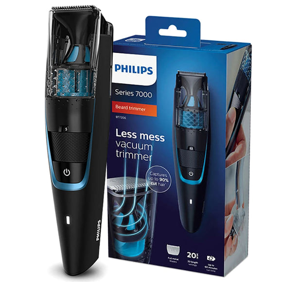 Original Philips Vacuum Beard Trimmer Modeler Cordless and Corded 1 Hour Fast Charge for Men  Electric Shaver Razor BT7201/15 Black - 88digital