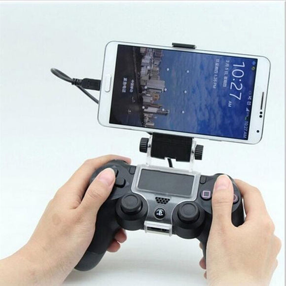 Phone Mount Hand Grip Stand for Sony Playstation Dualshock 4 PS4 Slim Pro Controller Samsung Xiaomi Huawei Clip Holder+OTG Cable - 88digital