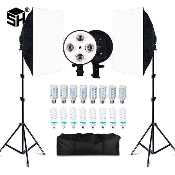 Photo Studio 8 LED 20W Softbox Kit Photographic Lighting Kit Camera & Photo Accessories 2 Light Stand 2 Softbox for Camera Photo - 88digital