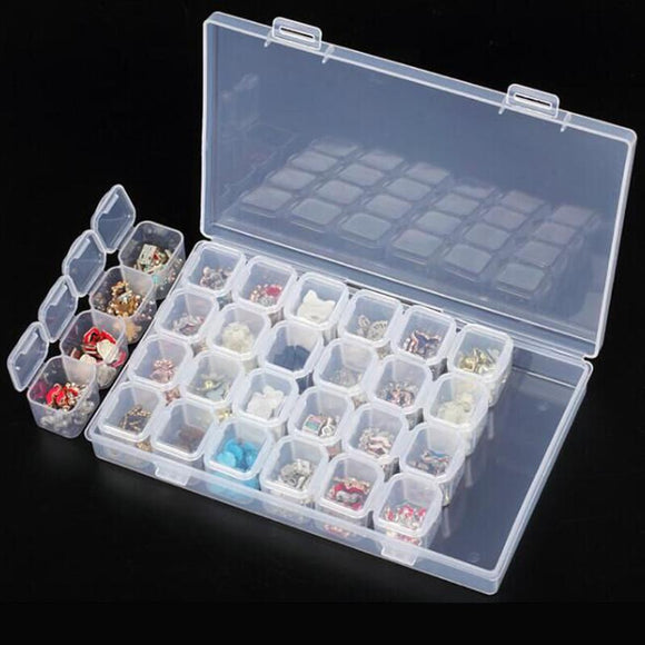 Plastic 28 Separate Slots Nail Storage Box Art Tools Jewelry Beads Ring Earrings Storage Box Case Organizer Holder - 88digital
