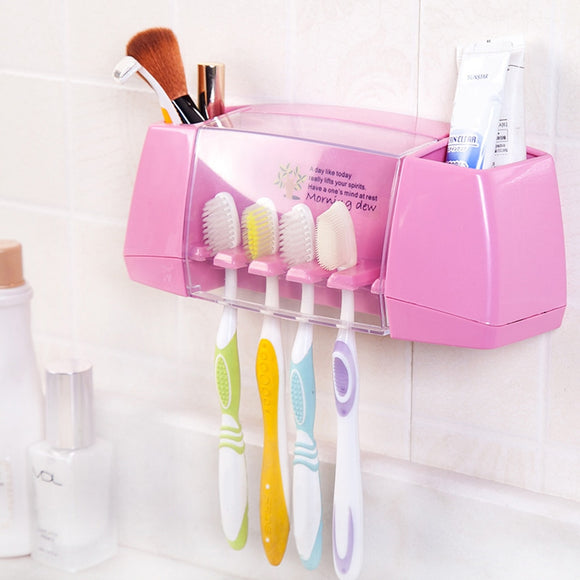 Plastic Toothbrush Holder Bathroom Organizer Accessories Tools Toothpaste Storage Rack Shaver Tooth Brush Dispenser Set USA - 88digital
