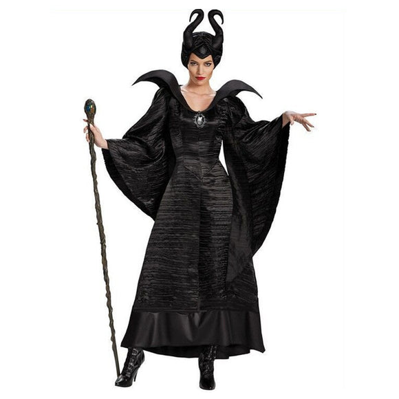 Plus Size Fairy Tale Sexy Black Sleeping Beauty Witch Queen Maleficent Costumes Adult Women Halloween Party Cosplay Fancy Dress - 88digital