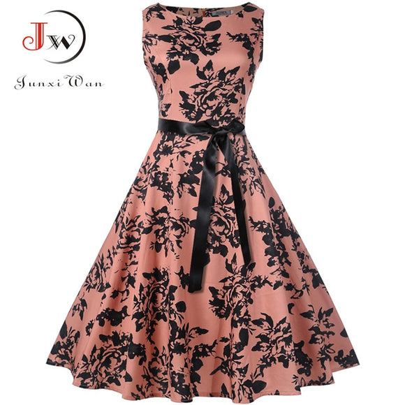 Plus Size Summer Dress  Women Vintage Rockabilly Dresses Jurken Floral 50s 60s Retro Big Swing Pinup Party Dress Vestidos - 88digital