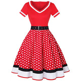 Plus Size Women Polka Dot Print Vintage Dress V-Neck Short Sleeve Belt Hepburn Dress Sweetheart Pin Up 50s Party Dresses Vestido - 88digital