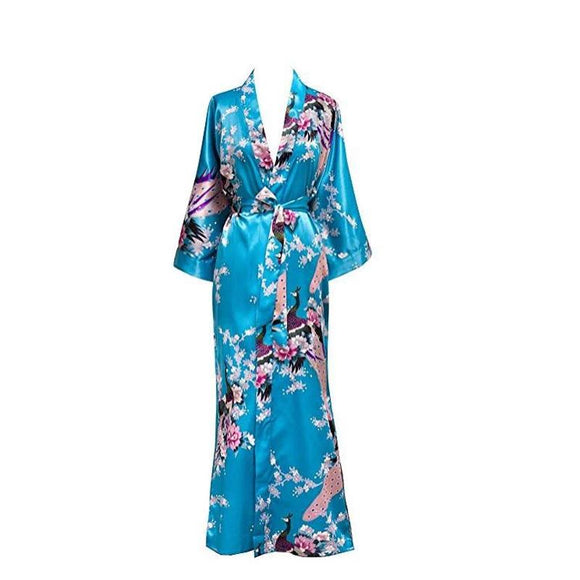 Plus Size XXXL Chinese Women Long Robe Print Flower Peacock Kimono Bathrobe Gown Bride Bridesmaid Wedding Robes Sexy Sleepwear - 88digital