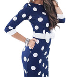 Polka Dot Dress Women 2019 Summer Casual Bodycon Sexy Party Dresses Elegant Midi Club Dress Plus Size bodycon Office Dress GV809 - 88digital