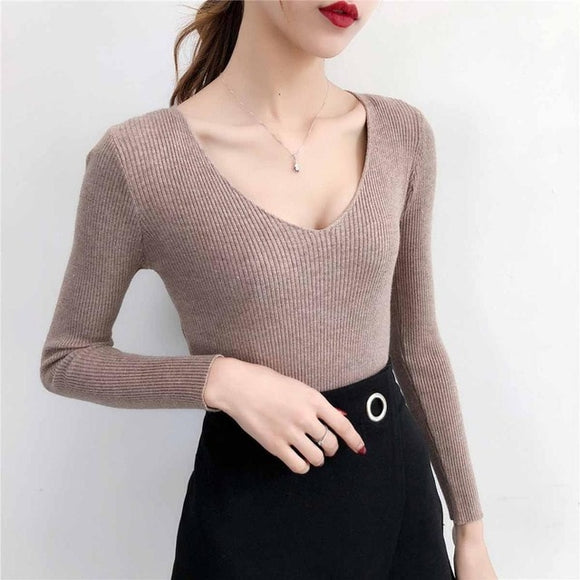 Sexy Deep V Neck Women Sweaters And Pullovers Winter Pink Gray Knitted Warm Jumper Slim Stretch Sweater Female - 88digital