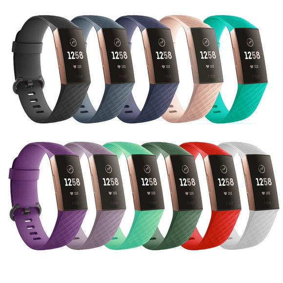 Pure Color Silicone Replacement Smart Watch Accessories Bracelet Strap For Fitbit Charge 3 Band Wristband Belt Fit Bit band - 88digital