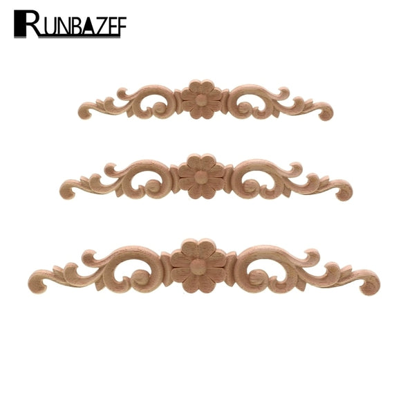 European-style Home Decorates Dongyang Wood Carving White Embryo Long Applique Door Bed Decorative Flower Piece Kawaii - 88digital