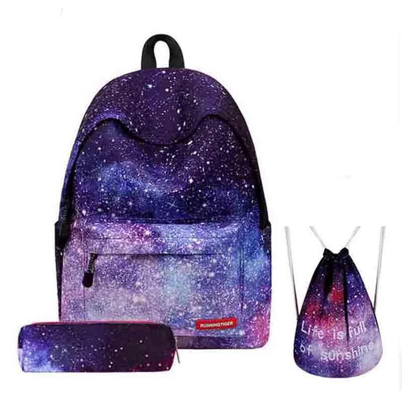 Backpack Women Universe Space School Backpack With Drawstring Bag & Pencil Case 3pcs Set Bag - 88digital
