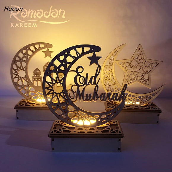 Ramadan Eid Mubarak Decorations for Home Moon LED Candles Light Wooden Plaque Hanging Pendant Islam Muslim Event Party Supplies - 88digital