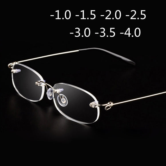 Rimless Metal Frame Nearsighted Glass Ultralight Boxed Shortsighted Myopia Glasses Women Men -1.0 -1.5 -2 -2.5 -3 -3.5 -4.0 - 88digital