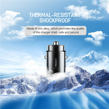 Rock Car usb Charger for Samsung Xiaomi 30w QC 4.0 PD 3.0 Type C Plug Quick Charge Mini Metal Phone Car-charger For Iphone 6 7 8 - 88digital