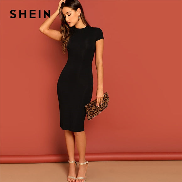 SHEIN Black Stand Collar Solid Natural Waist Stretchy Bodycon Dress Women Summer Elegant Short Sleeve Slim Fitted Pencil Dresses - 88digital