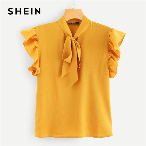 SHEIN Mustard Elegant Office Lady Flounce Shoulder Tied Neck Floral Solid Ruffle Blouse Summer Women Chiffon Tops and Blouses - 88digital