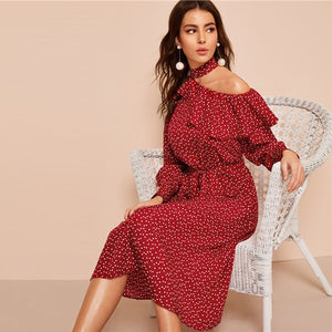 SHEIN Polka Dot Print Ruffle Trim Cut Out Neck Sexy Dress Women Clothes 2019 Spring Glamorous Long Sleeve Belted Midi Dress - 88digital