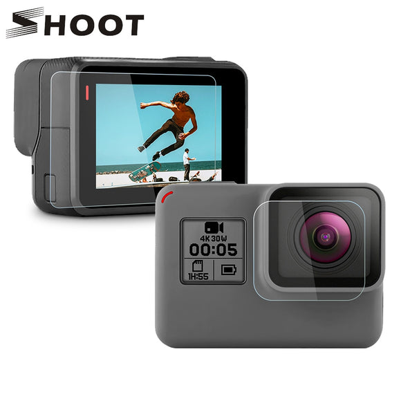 SHOOT Tempered Glass Lens + LCD Screen Protector For GoPro Hero 7 6 5 Hero7 Hero6 Hero5 Black Camera Protective Film For Go Pro - 88digital