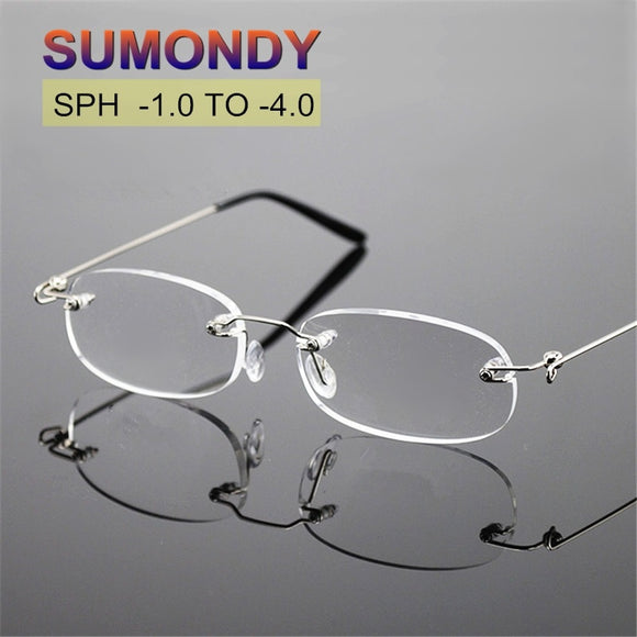 SPH -1 -1.5 -2 -2.5 -3 -3.5 -4 Women Rimless Finished Myopia Glasses With Diopter Brand Designer Nearsighted Spectacles UF30 - 88digital