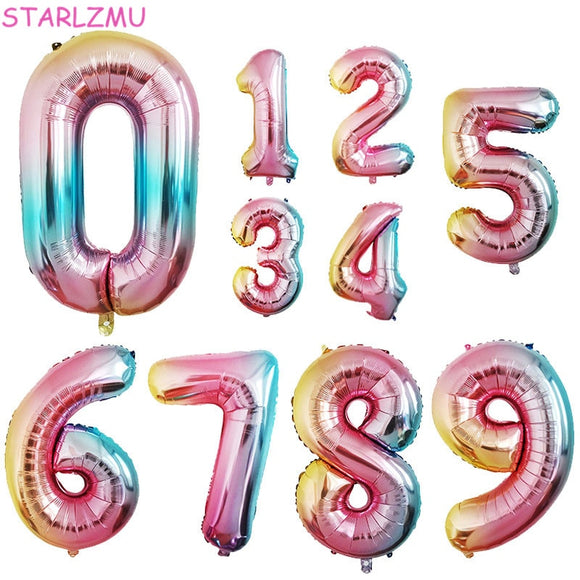 STARLZMU 1pcs 32inch Rainbow Number Balloons 0 1 2 3 4 5 6 7 8 9 Digital Foil Balloon 1st Birthday Party Decoration Air Globos - 88digital