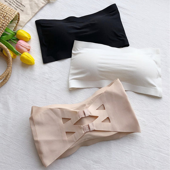 Seamless One-piece Tube Tops Women Removable Pads Intimates Basic Black/White/Skin Womens Strapless Bra Bandeau Tube Top - 88digital