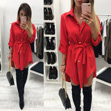 Shirt Dress Women's Fashion Long Sleeve Solid Mini Dress Office Ladies Buttons Irregular Bandage Turn Down Collar Dress WS4705E - 88digital
