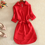 Shirts Women 2019 Summer Casual Dress Fashion Office Lady Solid Red Chiffon Dresses For Women Sashes Tunic Ladies Vestidos Femme - 88digital