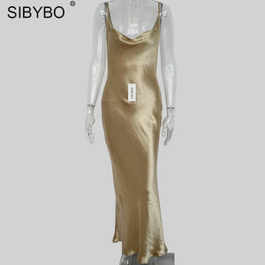 Sibybo Sexy Spaghetti Strap Backless Summer Dress Women Satin Lace Up Trumpet Long Dress Elegant Bodycon Party Dresses Vestidos - 88digital