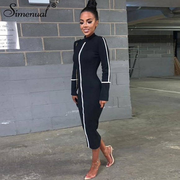 Simenual Casual Bodycon Women Long Dress Fashion Full Sleeve Striped Patchwork  Dresses Fashion Turtleneck Ladies Skinny Dresses - 88digital