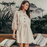 Simplee Elegant linen short shirt dress women Long sleeve cotton dress buttons female vestidos Vintage summer dresses casual - 88digital