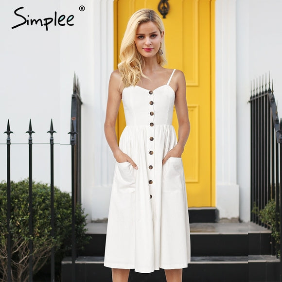 Simplee Elegant striped women summer plus size dress Buttons strap cotton midi dress Casual female ladies beach vestidos 2019 - 88digital