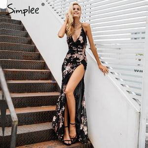 Simplee Sexy lace up halter sequin party dresses women High split maxi dress festa female Christmas 2018 long dress vestidos - 88digital
