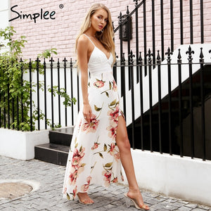 Simplee Sexy strap hollow out lace women dress Fashion lacer backless summer dress women Casual side split elastic long dress - 88digital