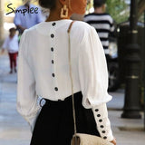 Simplee V neck women blouse shirt Puff sleeve button white blouse Autumn winter lady shirt top Female office chiffon blouse tops - 88digital