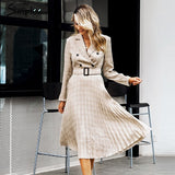 Simplee Vintage pleated belt plaid dress women Elegant office ladies blazer dresses Long sleeve female autumn midi party dress - 88digital
