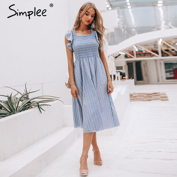 Simplee Vintage striped women long dress Ruffle linen blue elegant summer dress 2019 Casual cotton fashion female beach vestidos - 88digital
