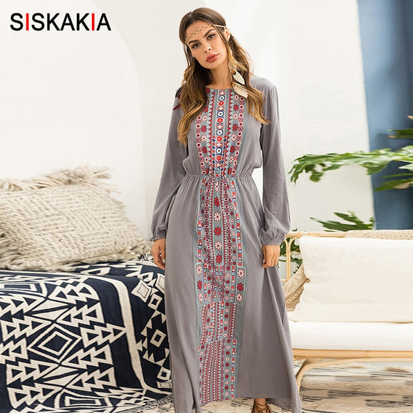 Siskakia Women long Dress Autumn 2019 Fashion Ethnic Printing Maxi Dresses long sleeve Beach Holiday Vocation Wears Gray Blue - 88digital