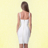 Spaghetti Strap Bandage Dresses 2019 Above Knee Sleeveless Sheath Solid Deep V Backless Fashion Sexy Club Evening Party Dress - 88digital