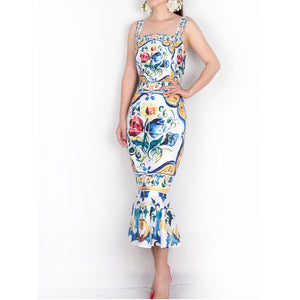Spaghetti Strap Dress 2018 Luxury Blue and White Porcelain Print Casual Trumpet Sheath Mid-Calf Square Collar New Arrival Dress - 88digital